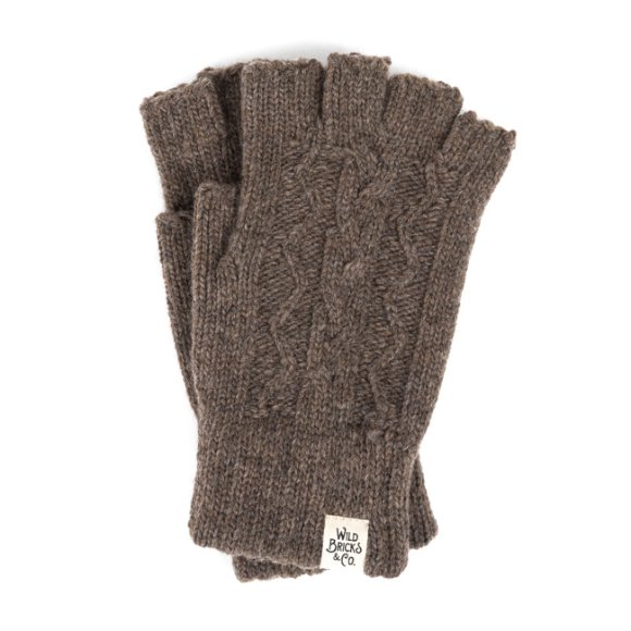 CABLE FINGERLESS GLOVES (brown)