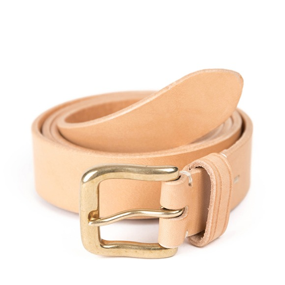 BS BRASS LEATHER BELT (beige)
