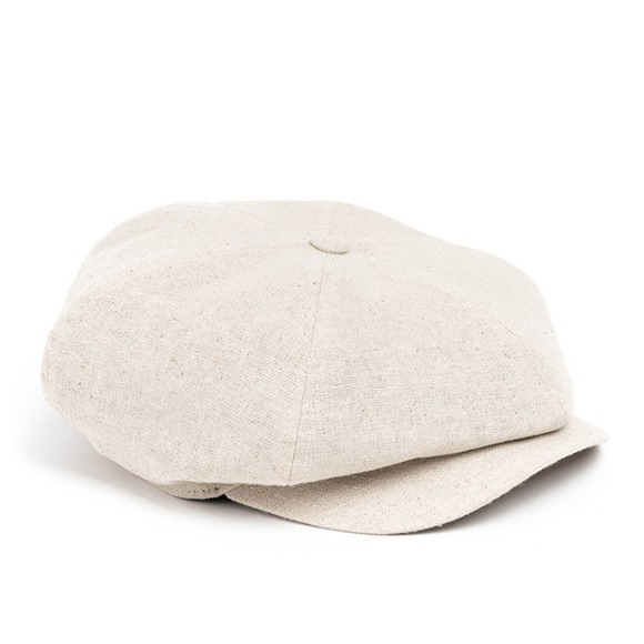 LINEN-COTTON NEWSBOY CAP (beige)
