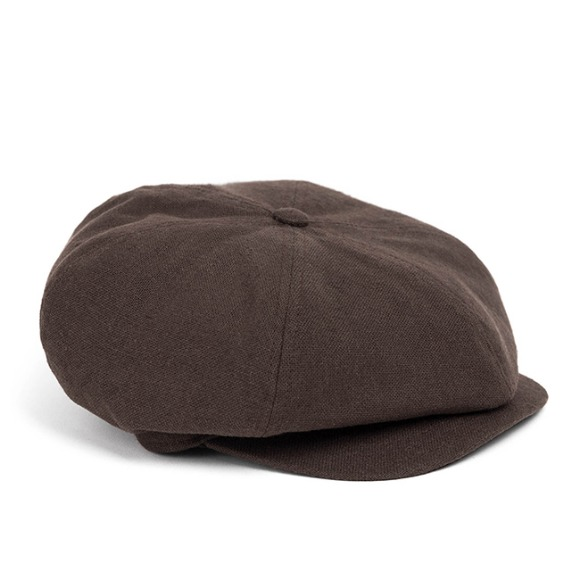 LINEN-COTTON NEWSBOY CAP (brown)