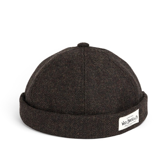 WOOL HERRINGBONE BRIMLESS CAP (brown)