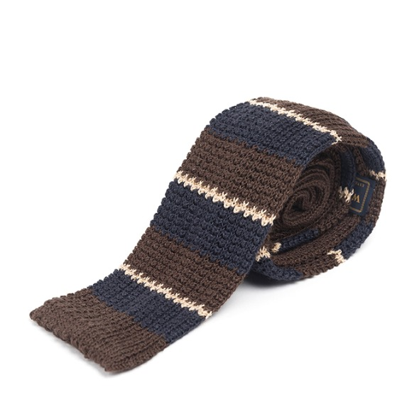 LAN STRIPE KNIT TIE (brown)