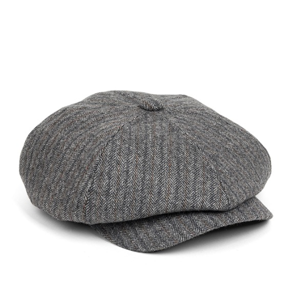 LB HERRINGBONE NEWSBOY CAP (grey)