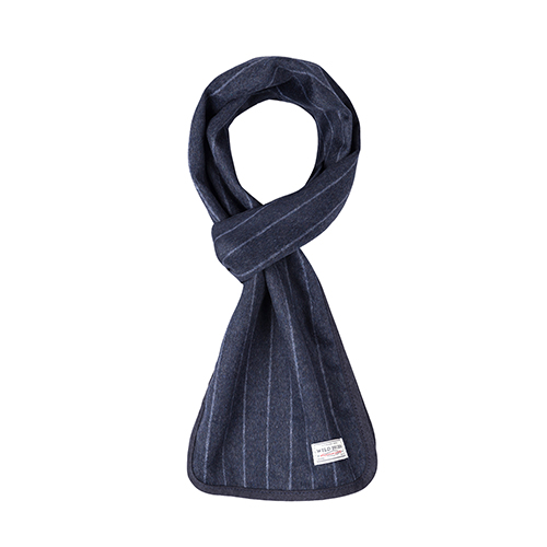 WOOL STRIPE STOLE (navy)