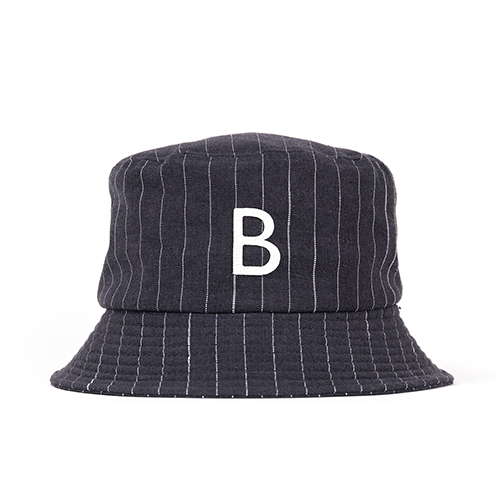 STRIPE BUCKET HAT (black)