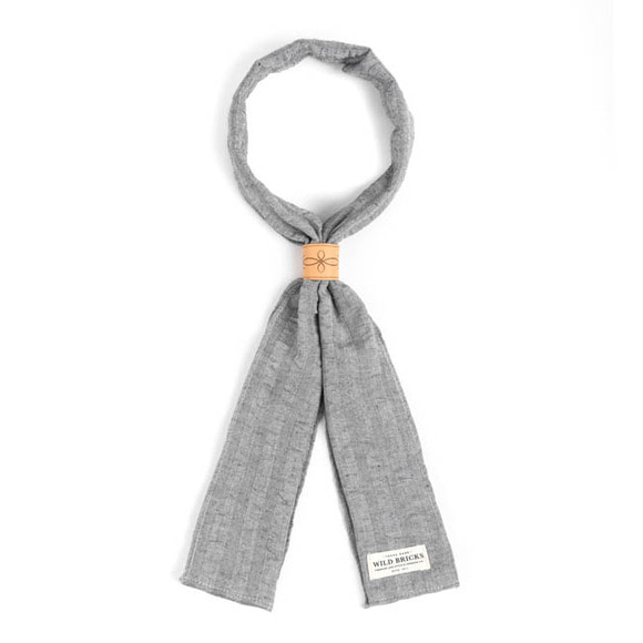 CREPE STRIPE SCARF (grey)