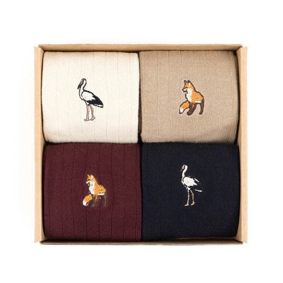 FOX/CRANE SOCKS 4SET (ivory/beige/burgundy/navy)