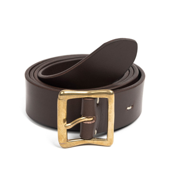 CB BRASS LEATHER BELT (dark brown)