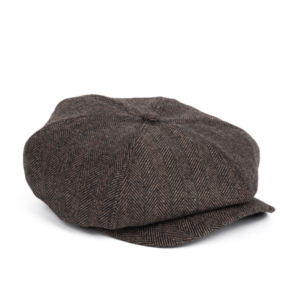 HERRINGBONE NEWSBOY CAP (brown)