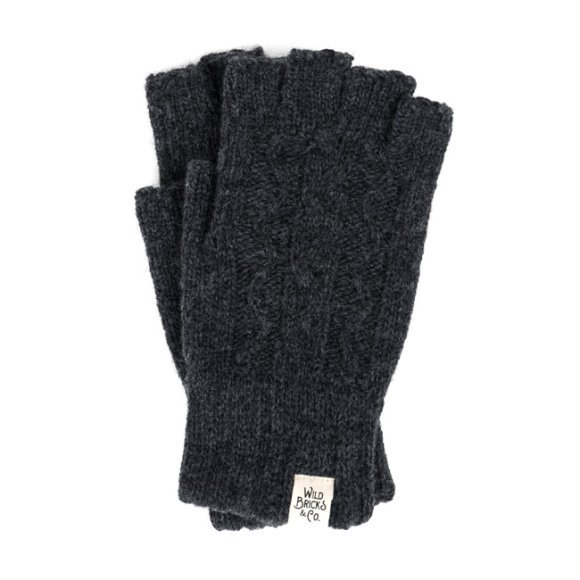 CABLE FINGERLESS GLOVES (charcoal)
