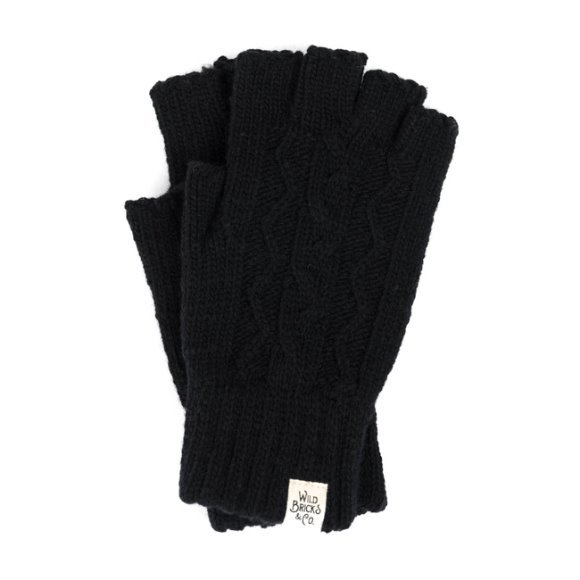 CABLE FINGERLESS GLOVES (black)