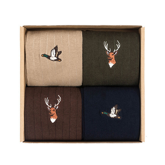 MALLARD/REINDEER SOCKS 4SET (beige/khaki/brown/navy)