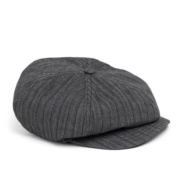 HBT STRIPE NEWSBOY CAP (grey)