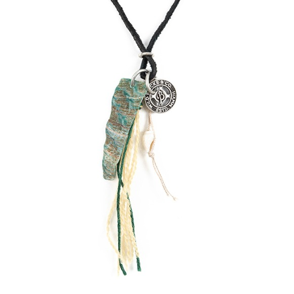 EN SEASHELL LEATHER NECKLACE (black)