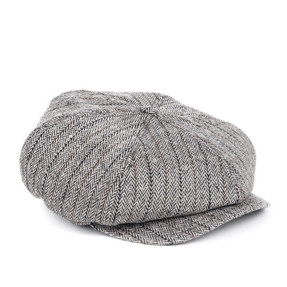 HERRINGBONE NEWSBOY CAP (light grey)