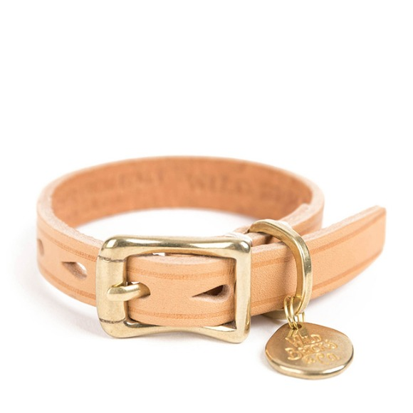 CB BRASS LEATHER BRACELET (beige)