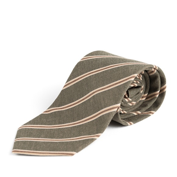 BP STRIPE COTTON TIE (olive)