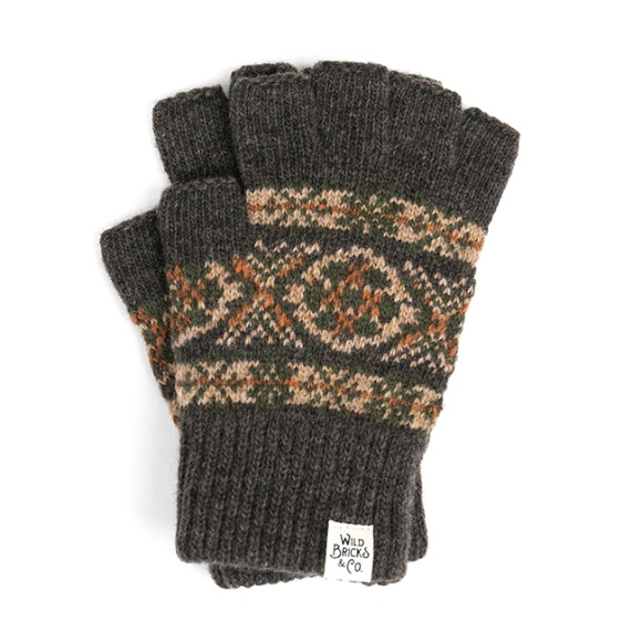 LW FAIR ISLE FINGERLESS GLOVES (brown)