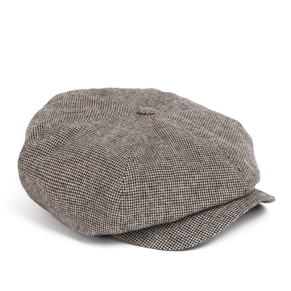 FINE HOUNDSTOOTH NEWSBOY CAP (light grey)