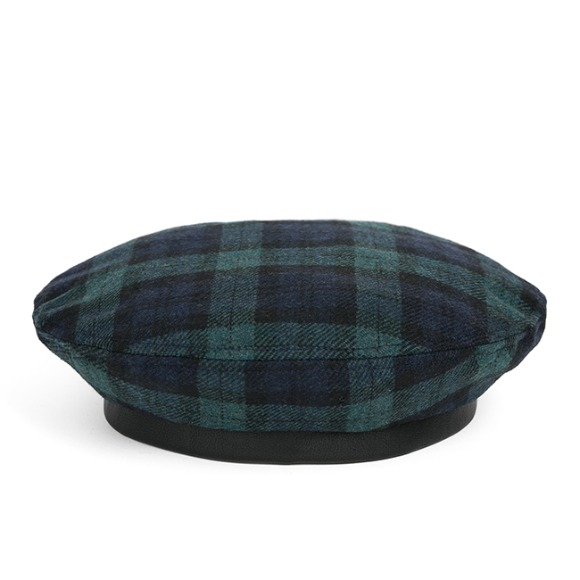 WOOL BW CHECK FLAT BERET (green)