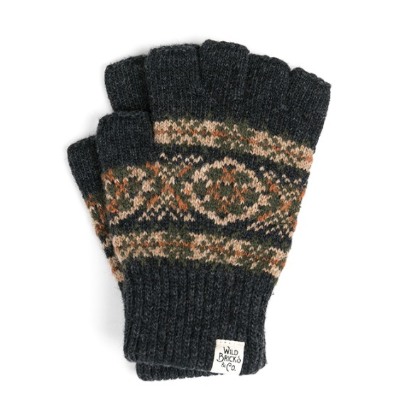 LW FAIR ISLE FINGERLESS GLOVES (charcoal)