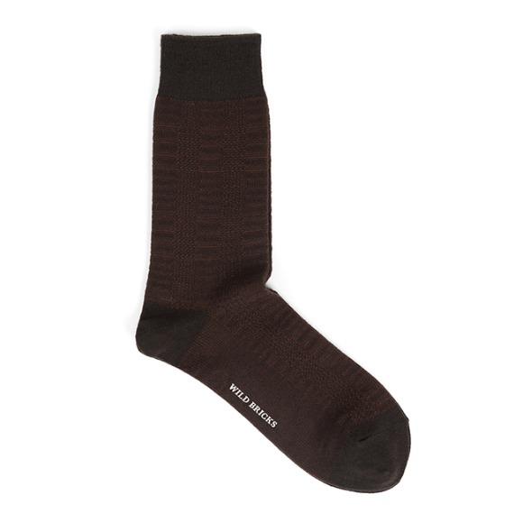GLEN CHECK DRESS SOCKS (brown)