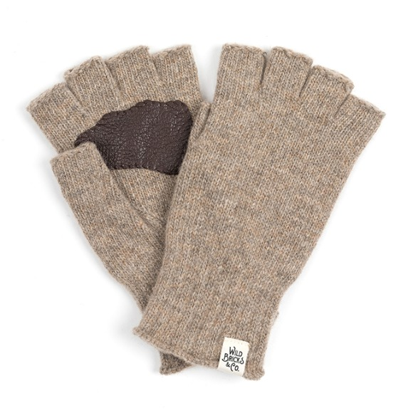LEATHER PALM FINGERLESS GLOVES (beige)
